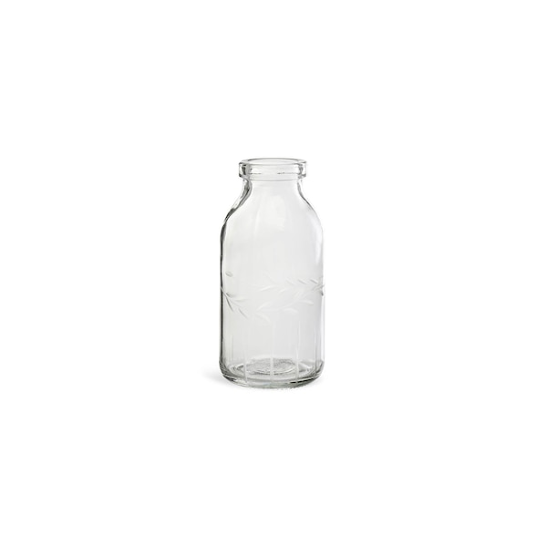 Vase  aus Glas, graviert, klar