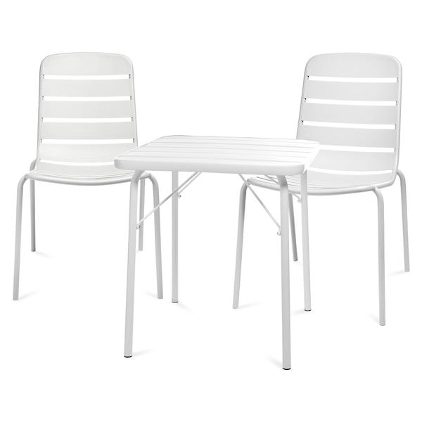 Outdoor-Sitzgruppe, 3-teilig, weiß