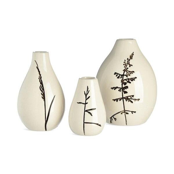 Vase Ähren, 3-teilig, weiß