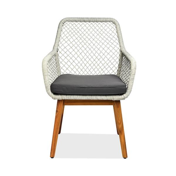 Outdoor-Stuhl Rope mit Armlehnen, grau