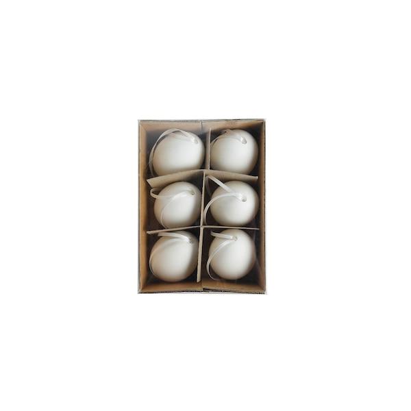 Anhänger Ei, 6er Set, weiß