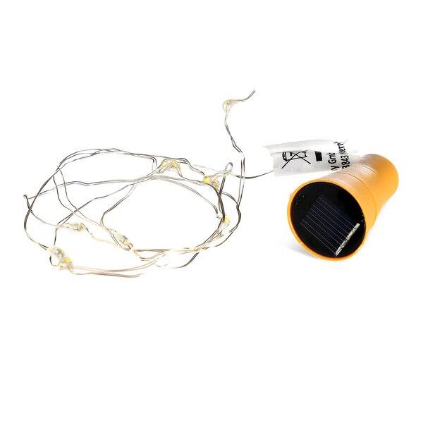 Solar Lichterkette mit Kunststoff-Korken für Flaschen, warmweiß