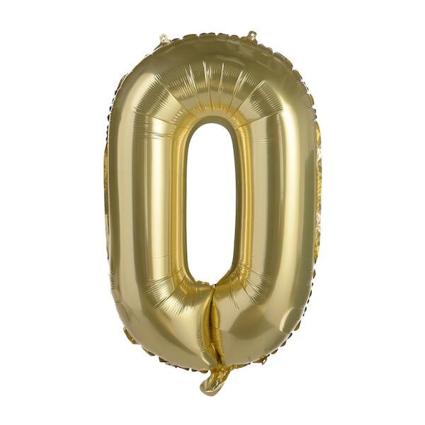 Folienballon XL Nummer 0 , altgold