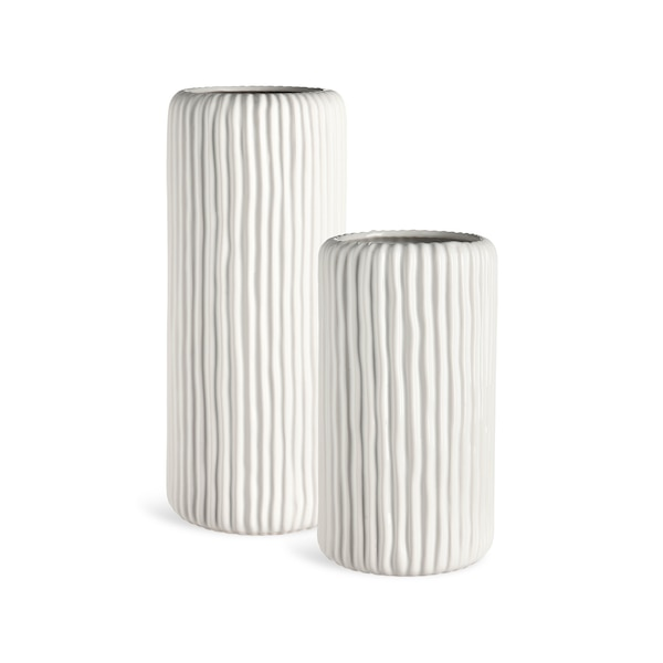 Set Vasen aus Keramik, 2-teilig, weiß