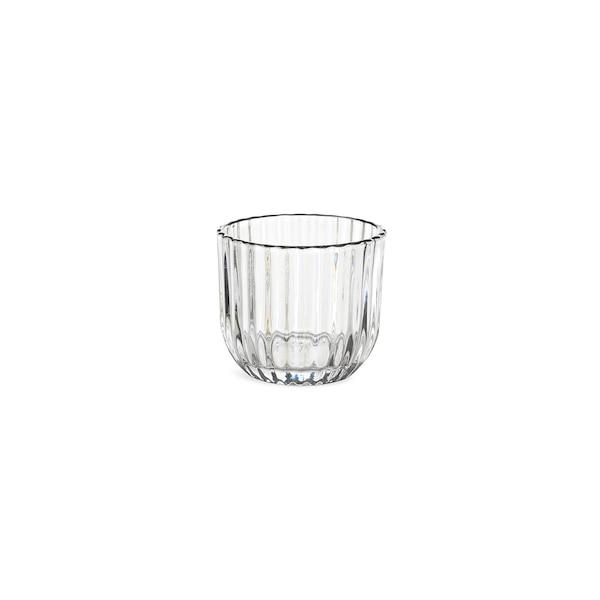 Teelichtglas Silberrand, klar