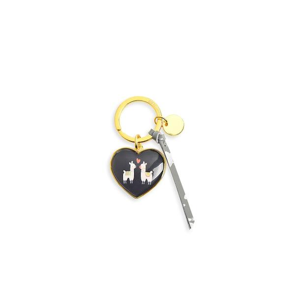 Schlüsselanhänger Herz Lama, schwarz
