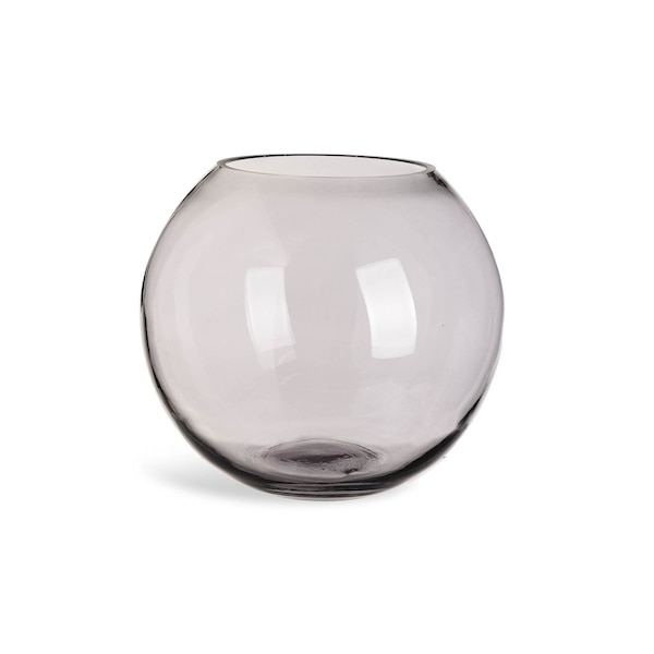 Kugelvase aus Glas, grau