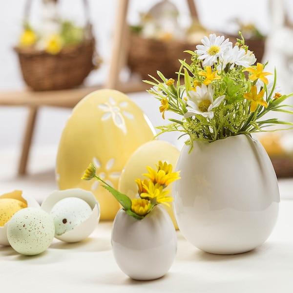 Vase Eierschale aus Keramik, weiß