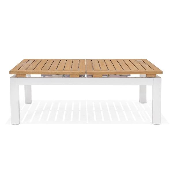 Outdoor-Multifunktionscouchtisch mit verstellbarer Platte, weiß