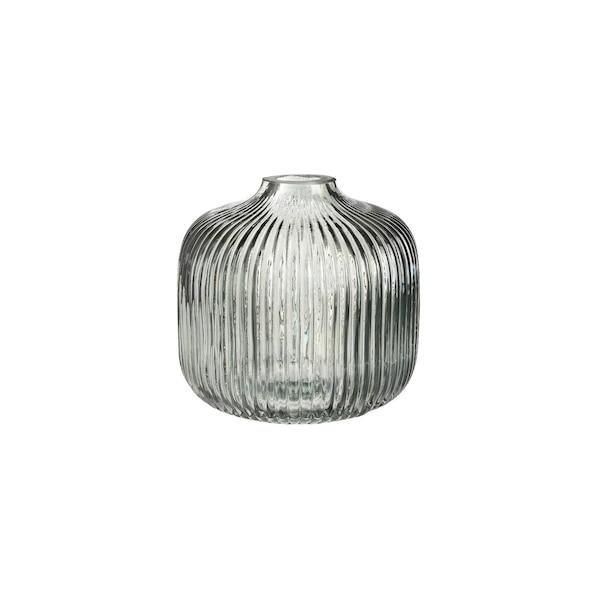 Vase aus Glas mit Rillen, graugrün