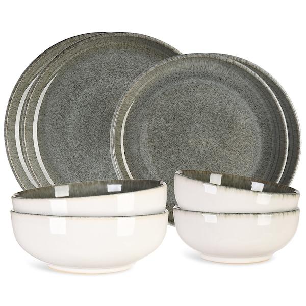 Geschirrset, 8-teilig, graugrün