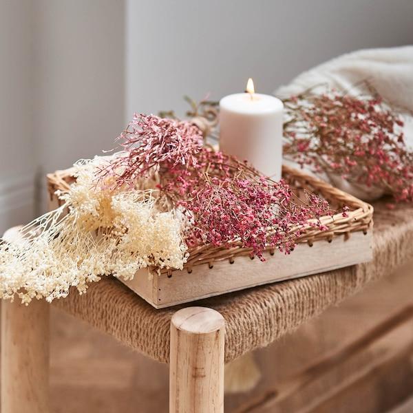 Dekotablett mit Trockenblumen