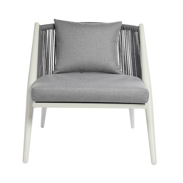 Outdoor-Loungesessel mit abnehmbaren Kissen, klappbar, grau