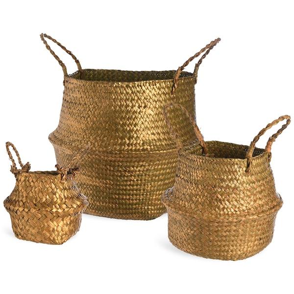 Set Aufbewahrungskorb Belly, 3-teilig, gold