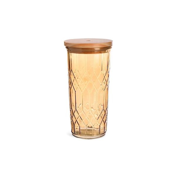 Trinkglas Rhombus mit Deckel , braun
