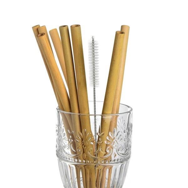 Strohhalm aus Bambus mit Bürste, natur