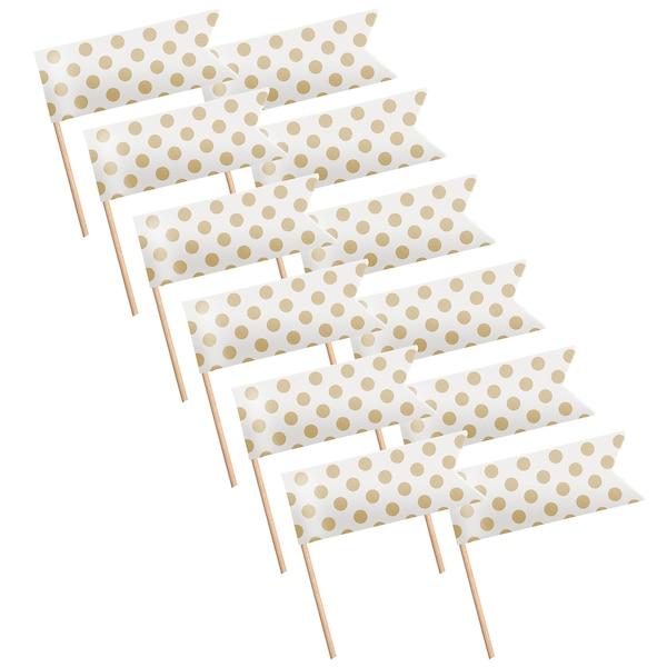 Kuchenpicks Dots, 12 Stück, gold