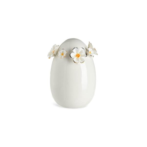 Dekoobjekt Ei mit Blütenkranz Midi, weiß