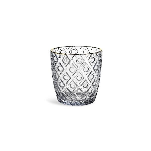 Teelichtglas Rautenpunkt, grau