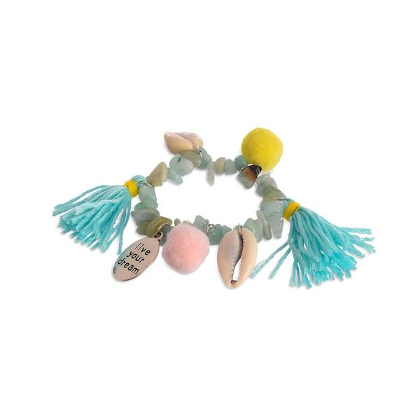 Kinder-Armband Boho Shell, aqua