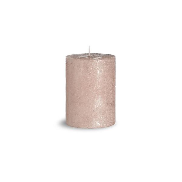 Bougie pilier Rustic Metallic Finish, vieux rose