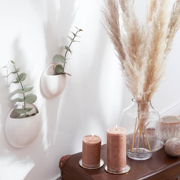 Wandvase aus Keramik, weiß