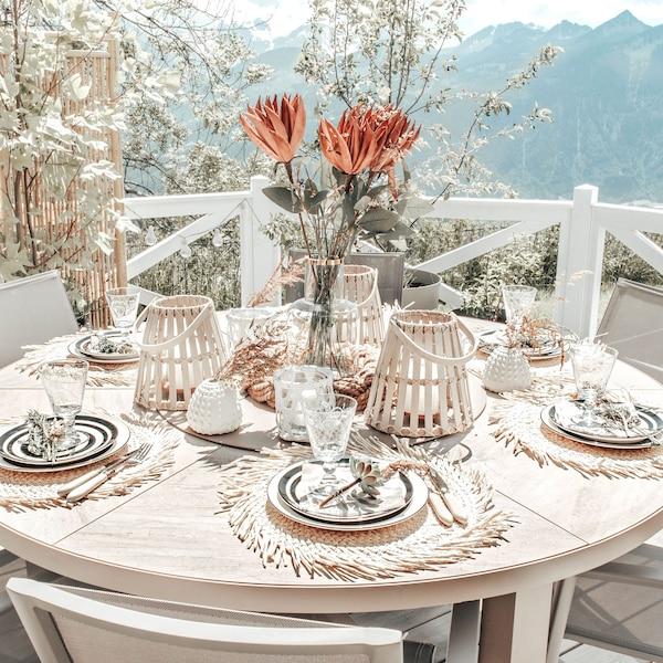 Tischset mit Fransen, natur