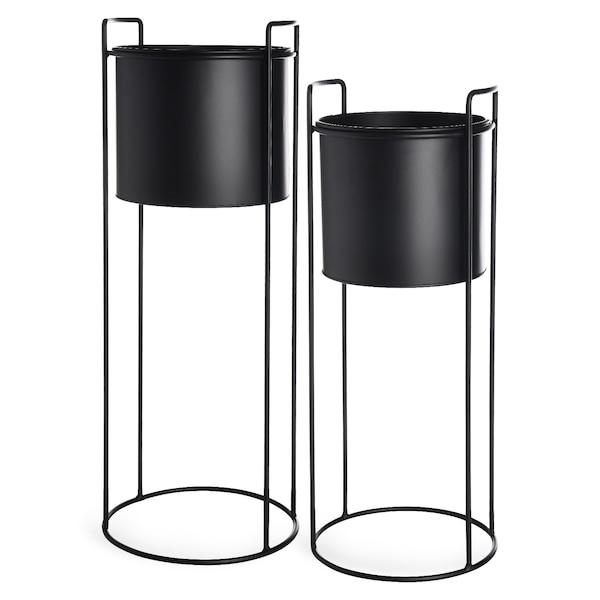 Übertopf-Set, 2-teilig, schwarz