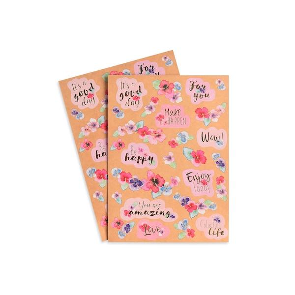 Sticker Floral, 2 Bögen, bunt