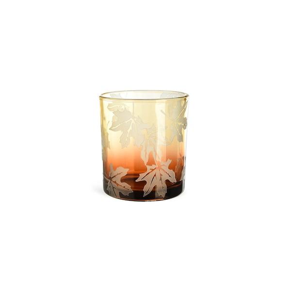 Teelichtglas Ahornblatt, dunkelgelb