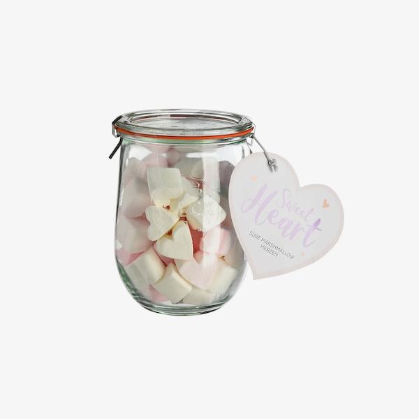 Vorratsglas mit Marshmallow Herzen, ohne Farbe