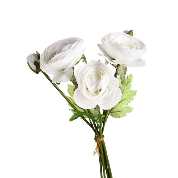 Kunstblumenbündel Ranunkel, 5 Blumen, weiß