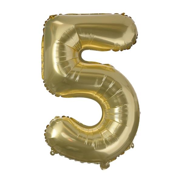 Folienballon XL Nummer 5, altgold