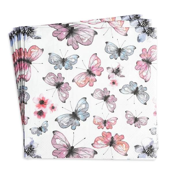 Serviette Butterflies, hellblau