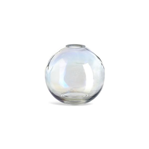 Kugelvase aus Glas, irisierend, klar