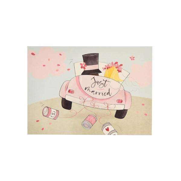 Postkarte Weddingcar, bunt