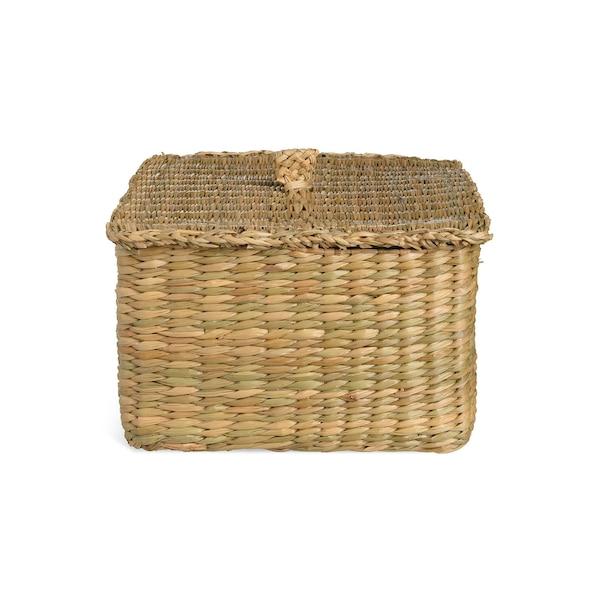 Aufbewahrungskorb aus Seegras mit Deckel, natur