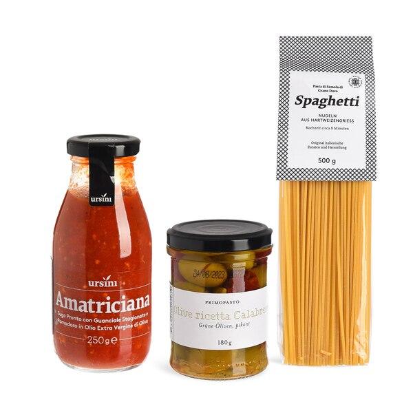 Set Spaghetti mit Tomatensoße und Oliven, 3-teilig, ohne Farbe