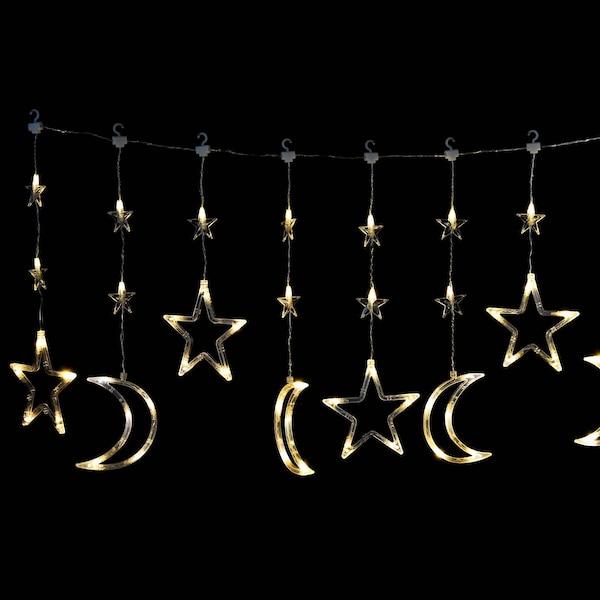 Outdoor-Lichtervorhang Sterne, klar