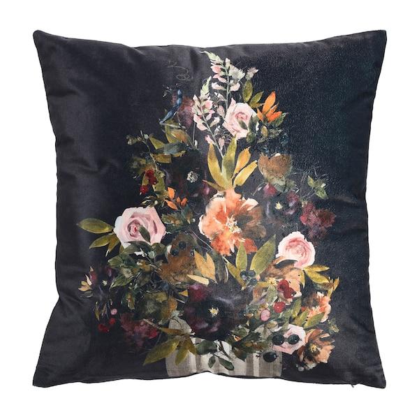 Kissenhülle Vintage Flower, schwarz