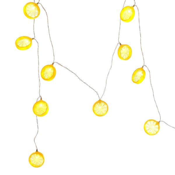 Outdoor Lichterkette Zitrone, 10 LED, Batteriebetrieben, gelb