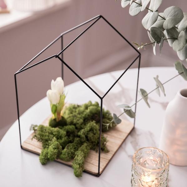 Kunstpflanze Tulpen in Erde, weiß