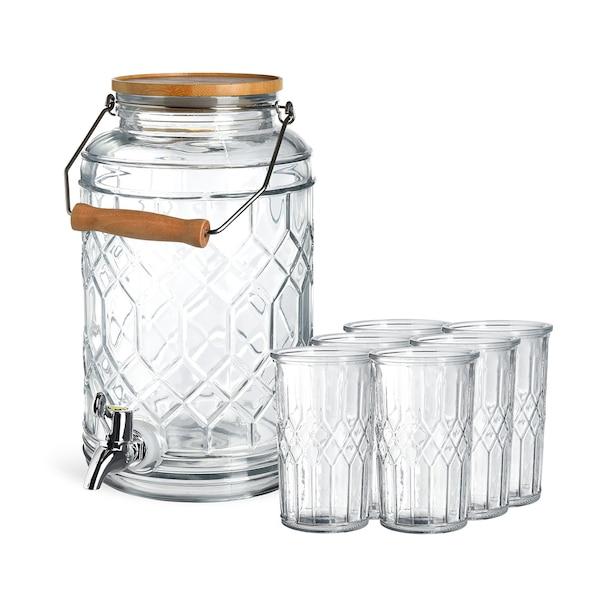 Set Getränkespender Rhombus mit Gläsern, 7-teilig, klar