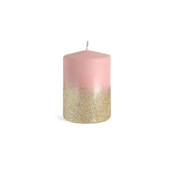 Stumpenkerze Glitter, matt, rosa