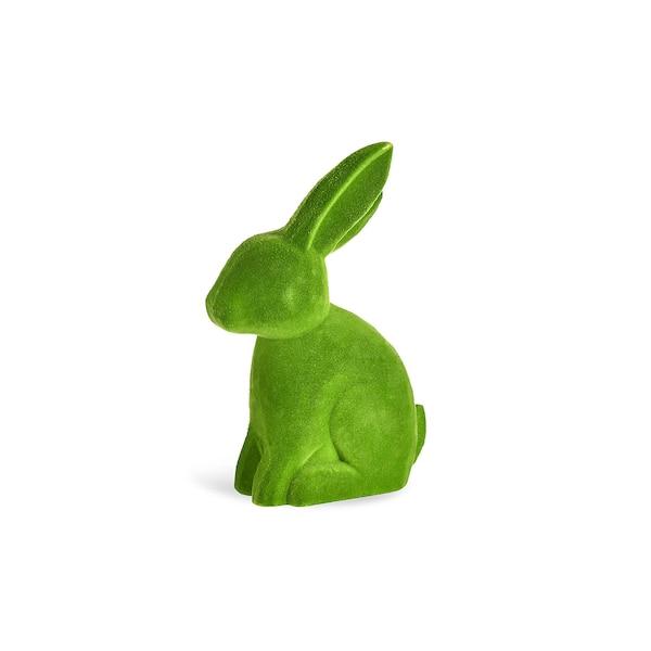 Figurine décorative Lapin, en velours, vert pomme