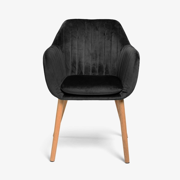 Samt-Stuhl mit Armlehnen, schwarz