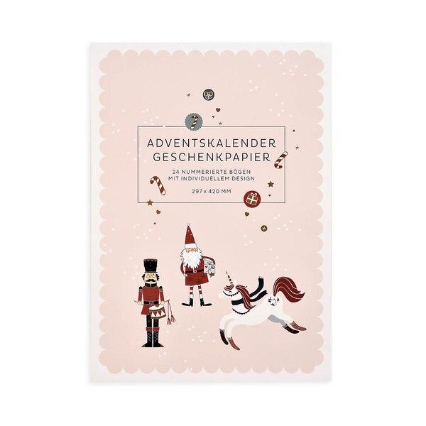 Adventskalender Geschenkpapier, 24-teilig, bunt