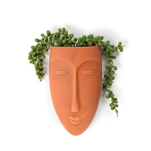 Wandvase Gesicht, terra
