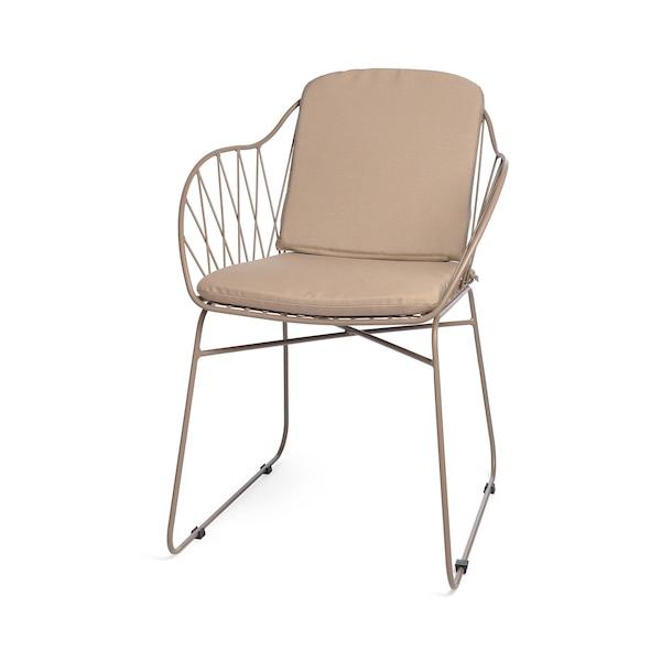 Outdoor-Stuhl mit Metallgeflecht, taupe