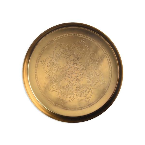 Dekotablett mit Mandala, gold